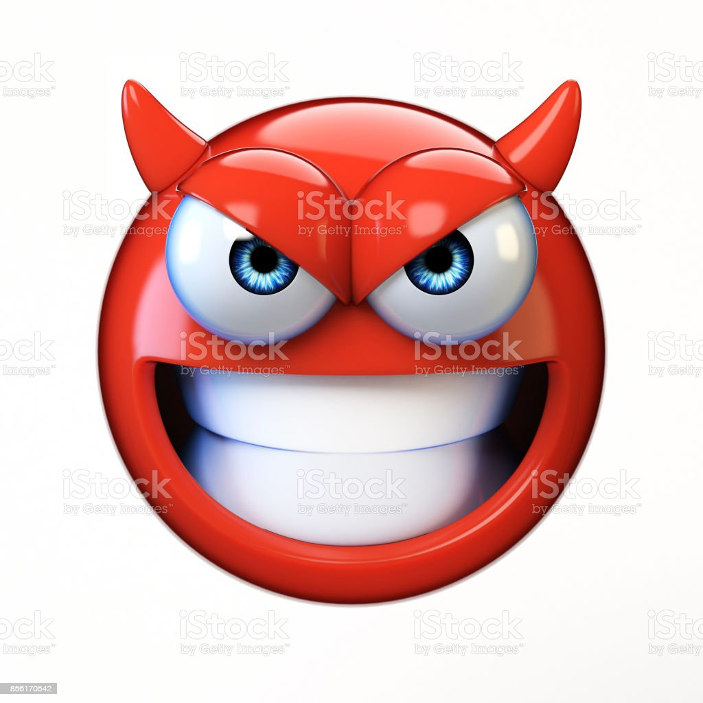 Devil emoji isolated on white background, evil emoticon 3d rendering stock photo