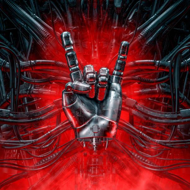 Devil horns cyber hand stock photo