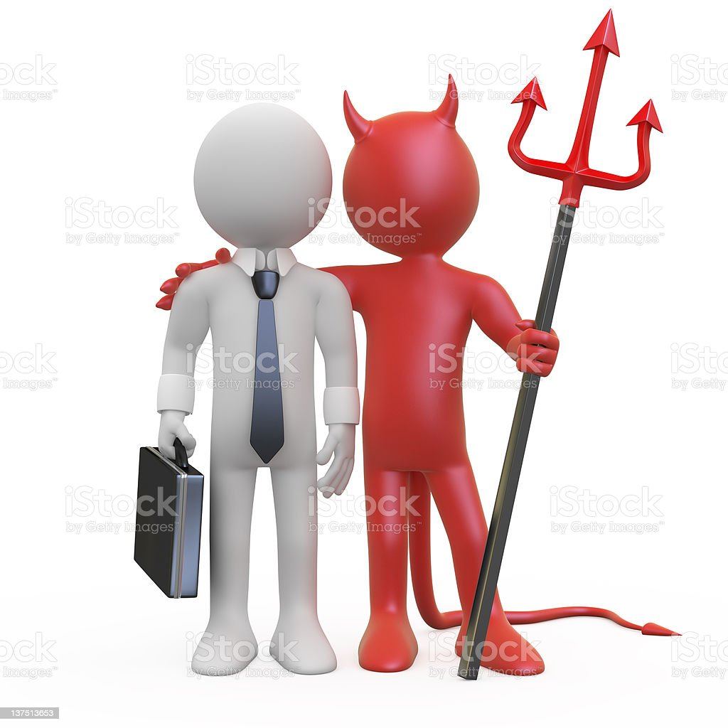 Devil with a businessman royalty-free stock photo