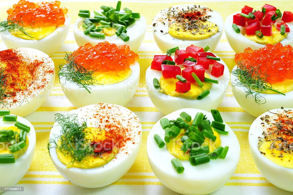 Deviled eggs background stock photo