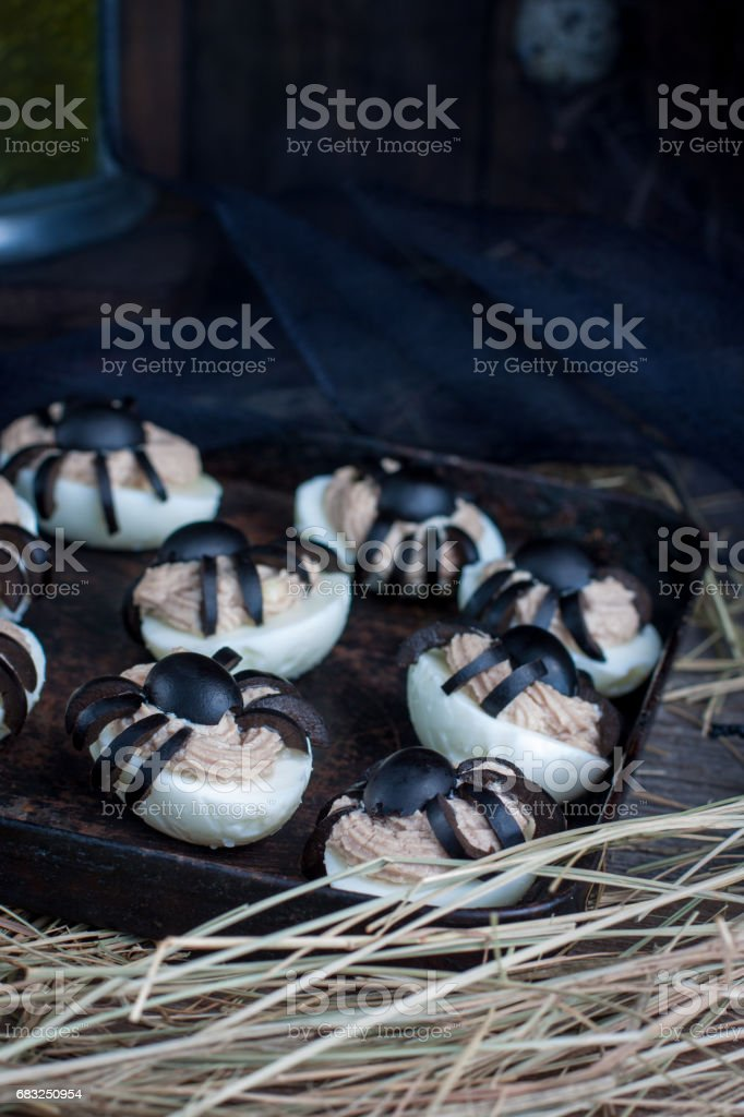Deviled eggs with a Spider for Halloween foto de stock royalty-free