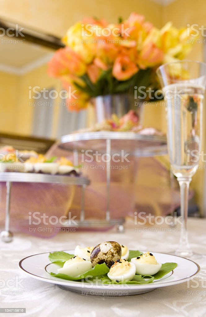 Deviled Quail Eggs & Brunch stock photo