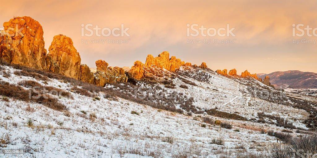 Devils Backbone rock formation stock photo