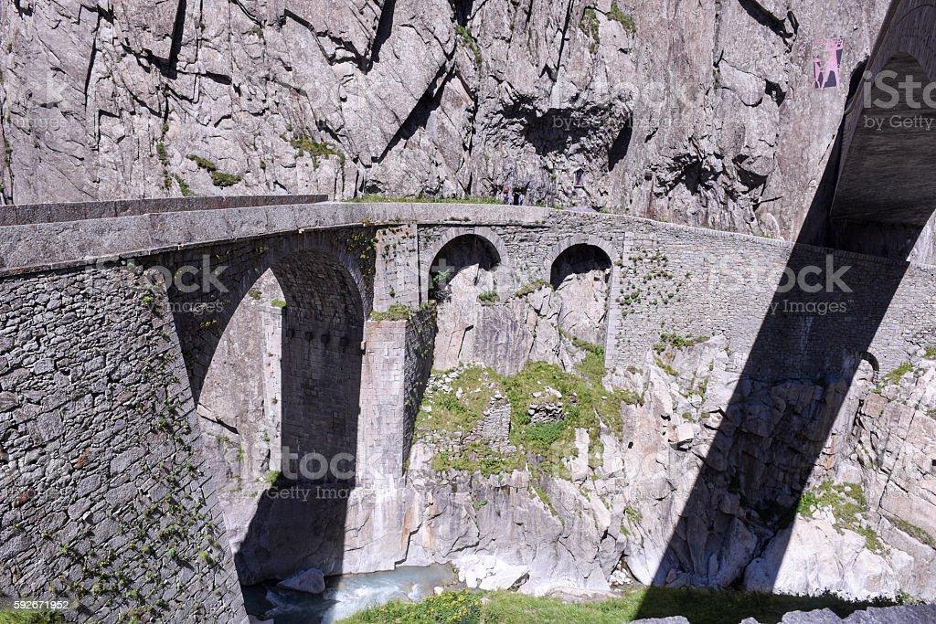 Devil's bridge at St. Gotthard pass stock photo