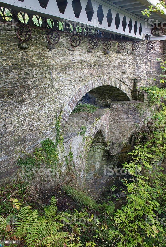 Devil's Bridge from near top, old set of three bridges. stock photo