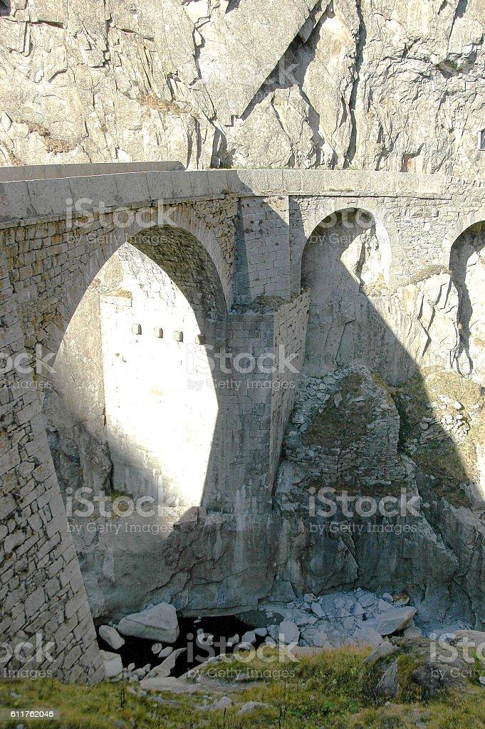 Devil's Bridge in Schallenen Gorge stock photo