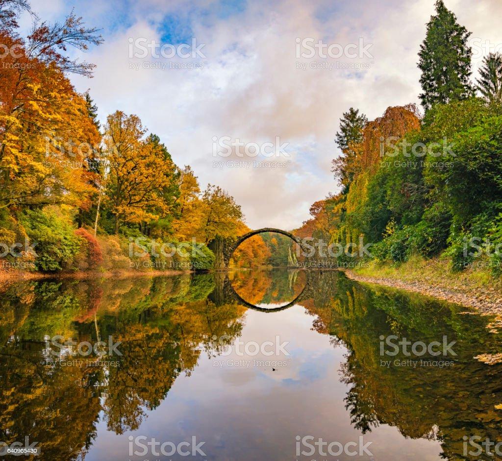 Devil's bridge in the park Kromlau, Germany stock photo