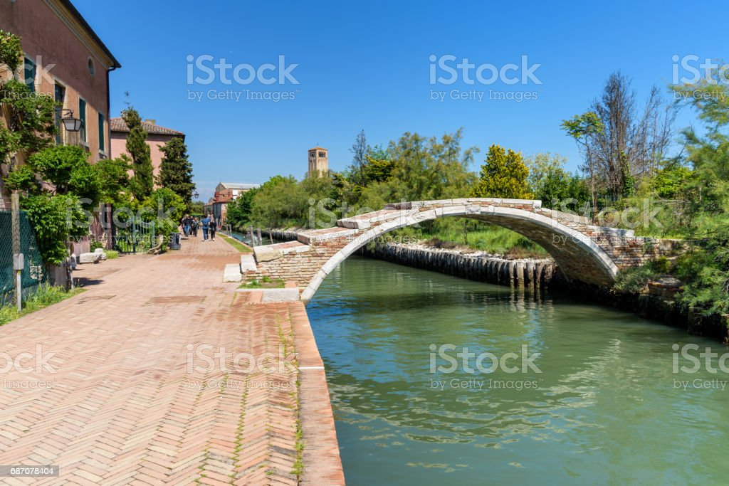 devil's bridge in Torcello island, italy stock photo