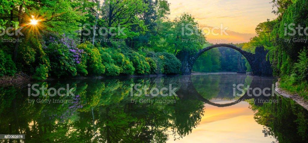 Devil's Bridge,Kromlau,Germany stock photo