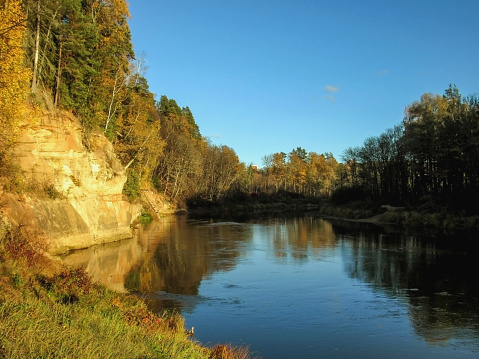 Devils Cave Rocks: the largest basset or outcrop in the Pikene cliffs, ancient cult place in Sigulda, Gauja National park, Latvia