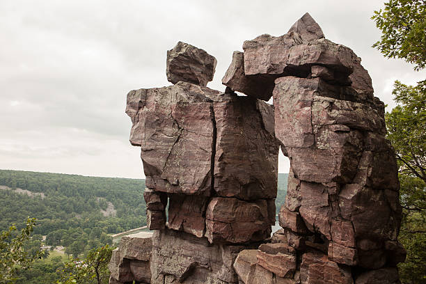 Devil's Doorway rock outcropping in a Wisconsin State Park stock photo