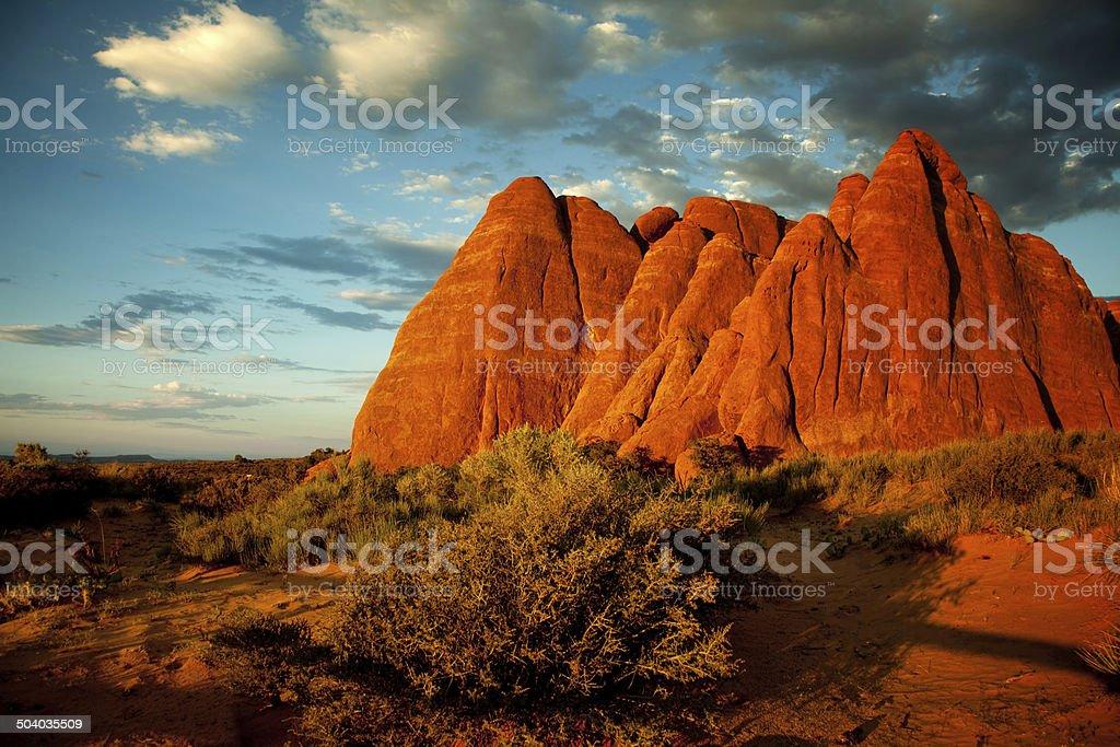 devils garden rocks in sunset light - arches park utah stock photo