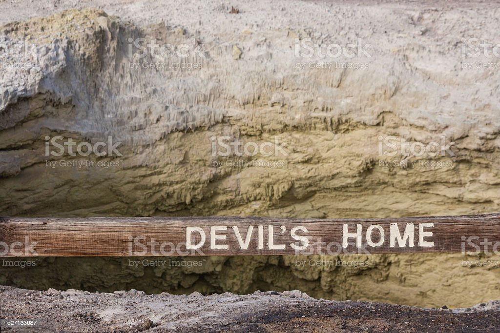 Devil's Home Crater with wooden sign in Waiotapu stock photo