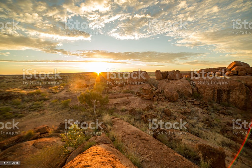 Devil's Marbles at sunrise, Northern Territory, Australia stock photo