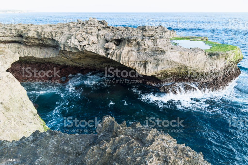 Devil's tears cliff and natural pool Nusa Lembongan, Bali, Indonesia stock photo
