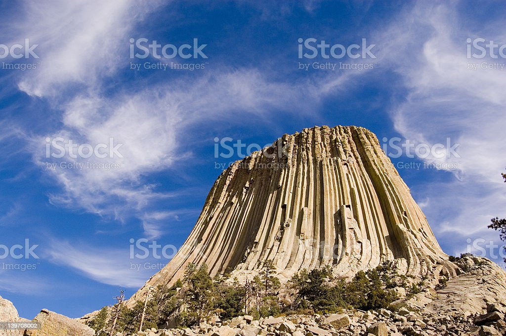 Devils Tower and Clouds royalty-free stock photo