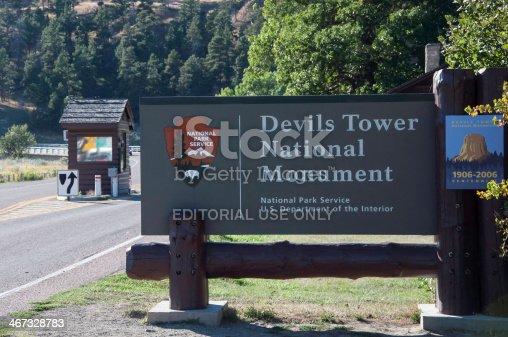 Hulett, Wyoming, USA - September 12, 2010: Devil's Tower National Monument entrance.