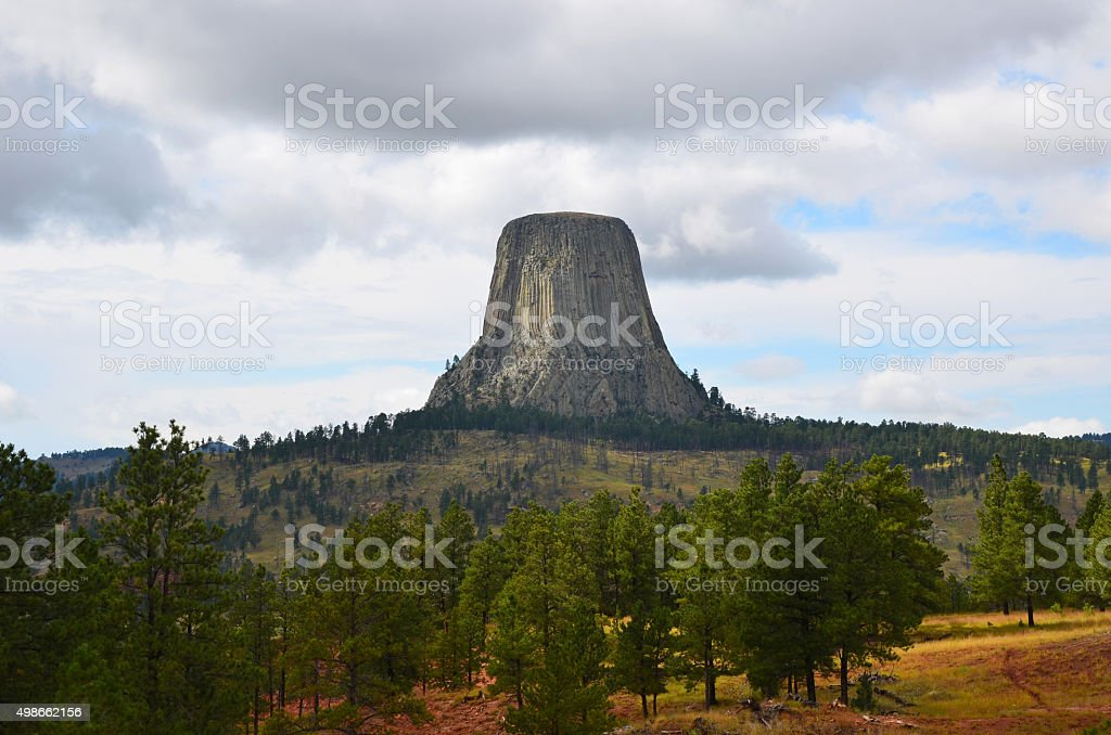 Devil's tower view stock photo