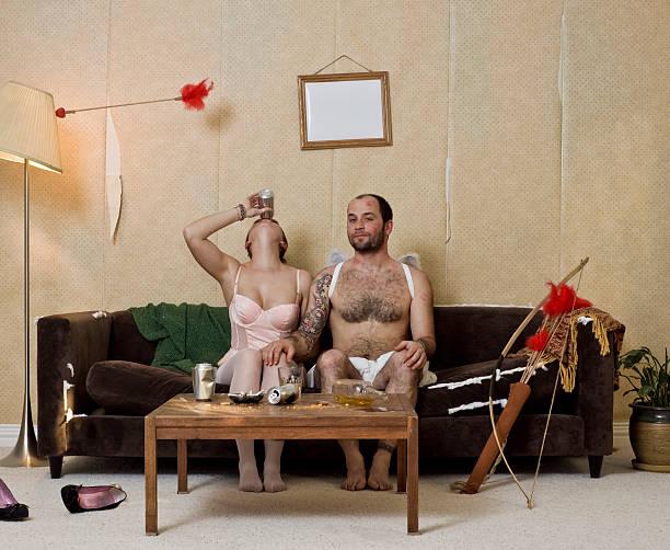 devious cupid und frau - windel partys stock-fotos und bilder