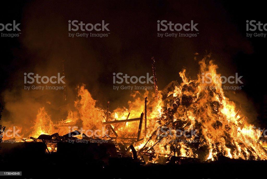 Devistating Barn Fire stock photo