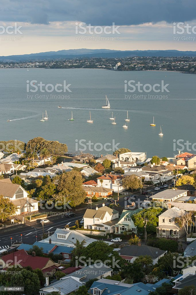 Devonport with Hauraki Gulf stock photo