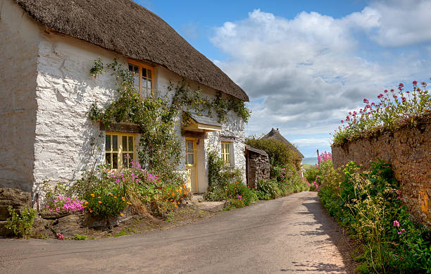 devonshire-cottage - strohdach stock-fotos und bilder