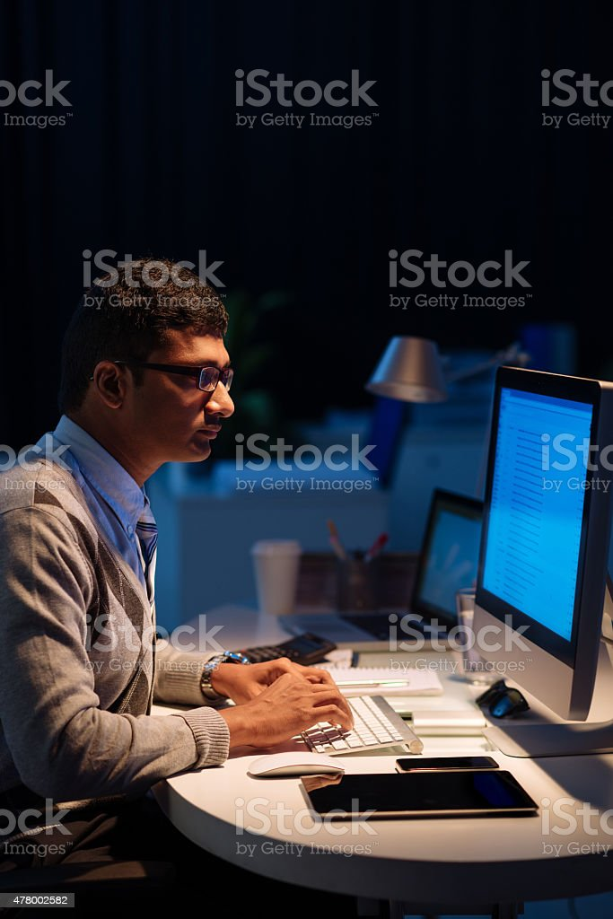 Devoted to programming stock photo
