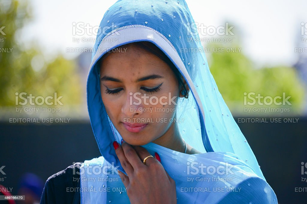 Devotee Sikh praying stock photo