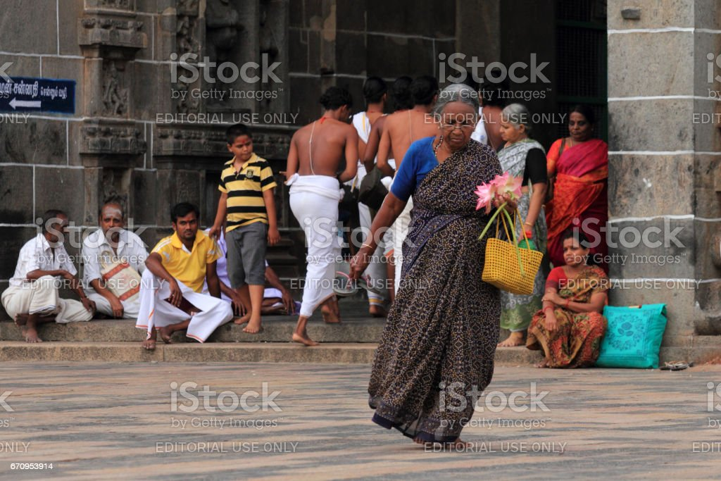 Devotees of the Nataraja temple in Chidambaram stock photo