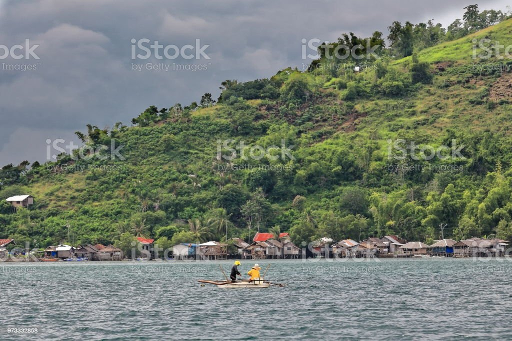 Dewey island coastline-vernacular stilt houses on North Bais Bay. Negros Oriental-Philippines.0524 stock photo