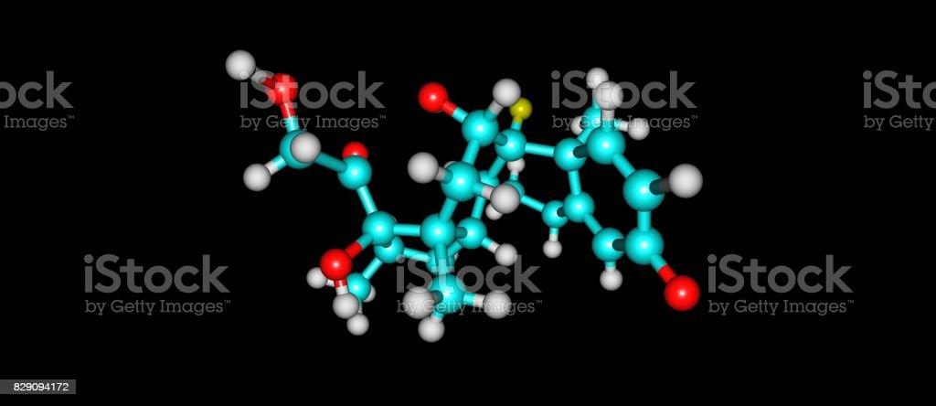 Dexamethasone molecular structure isolated on black stock photo