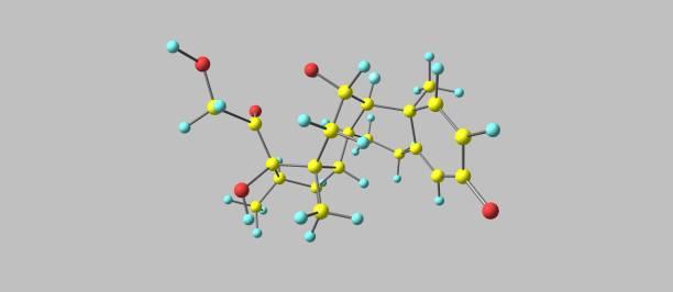 Dexamethasone molecular structure isolated on grey – zdjęcie