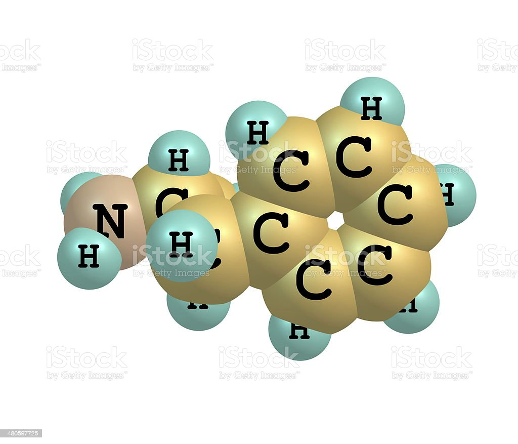 Dextroamphetamine (dexamphetamine) molecular structure on white royalty-free stock photo