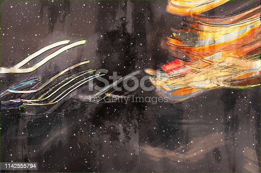Dgital abstract painting in colorful tone for background, colorful background
