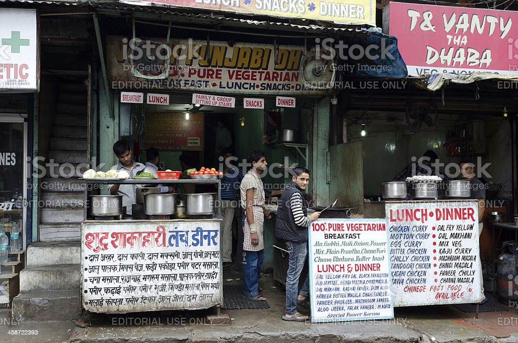Dhabas as roadside food stalls in New Delhi stock photo