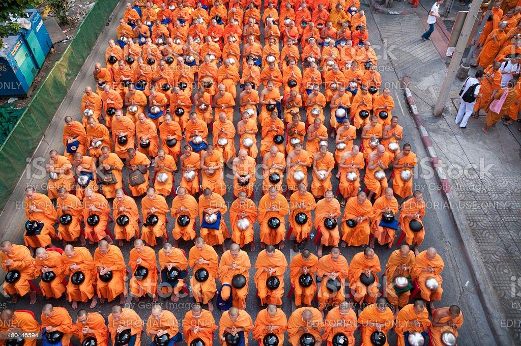 Dhammakaya Buddhist Monks March In Bangkok, Thailand stock photo