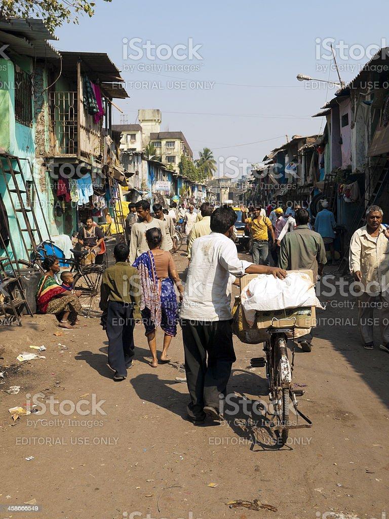 Dharavi Slum bicycle stock photo