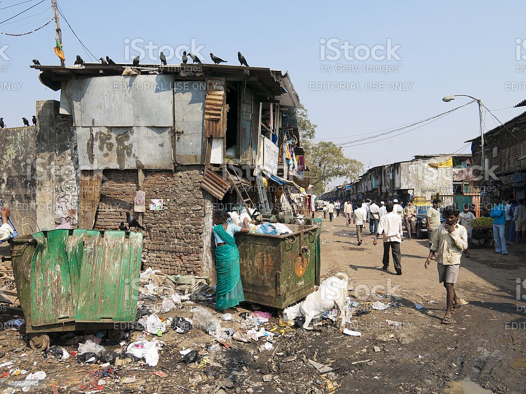 Dharavi Slum scene, Mumbai, India stock photo