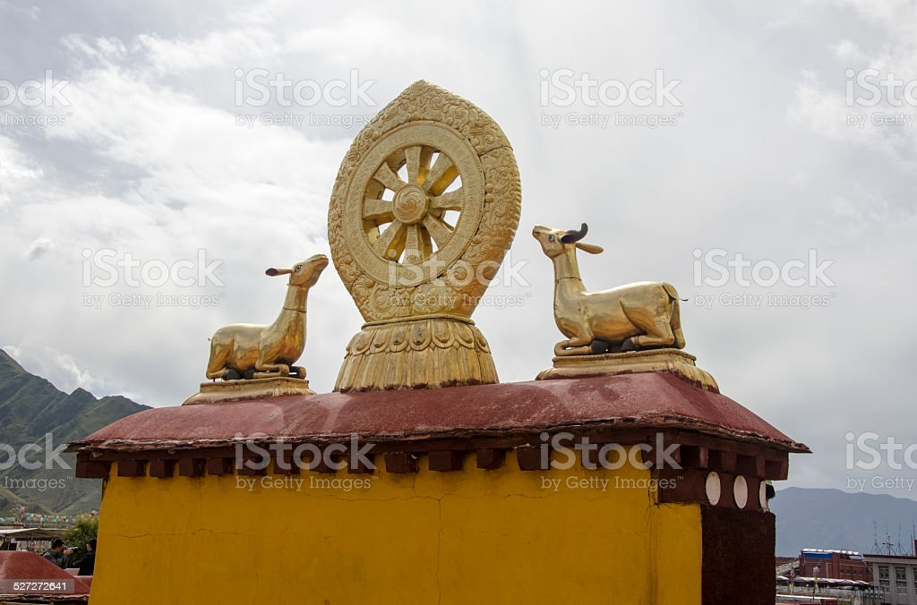 Dharma Wheel at the roof of Jokhang, Lhasa, Tibet stock photo