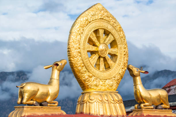 Dharma rueda en el último piso de de Jokhang, Lhasa, el Tíbet - foto de stock