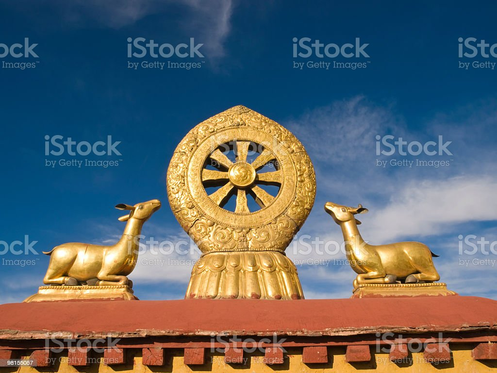 Dharma wheel, Tibet stock photo