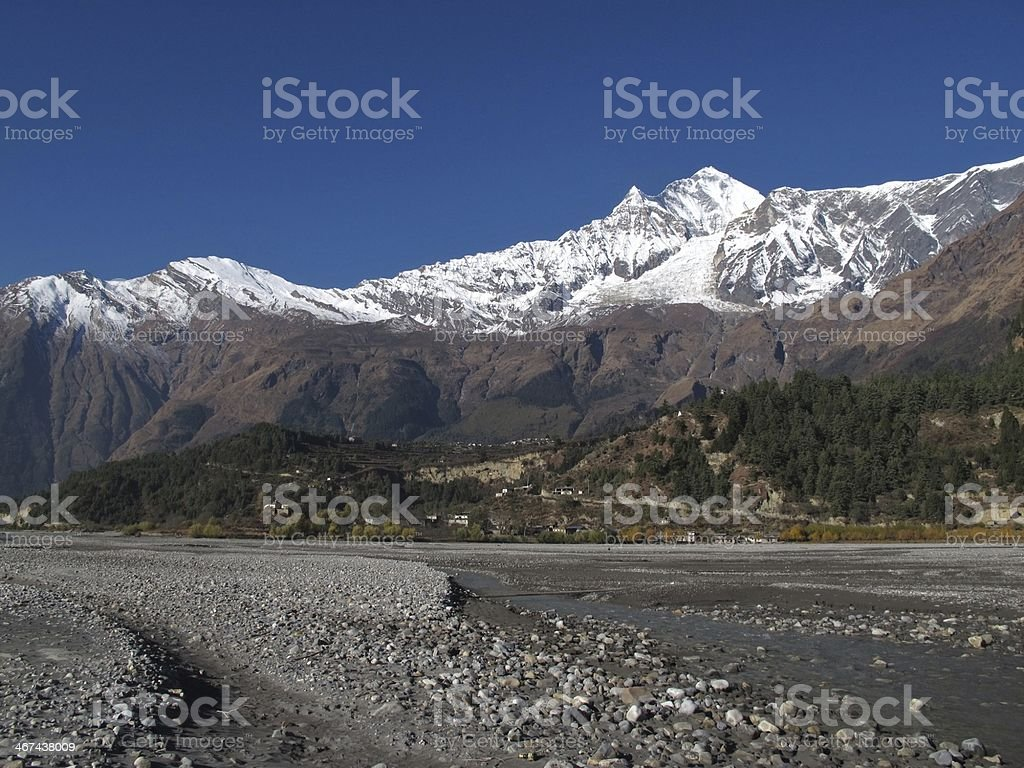 Dhaulagiri and Kali Ghandaki River royalty-free stock photo