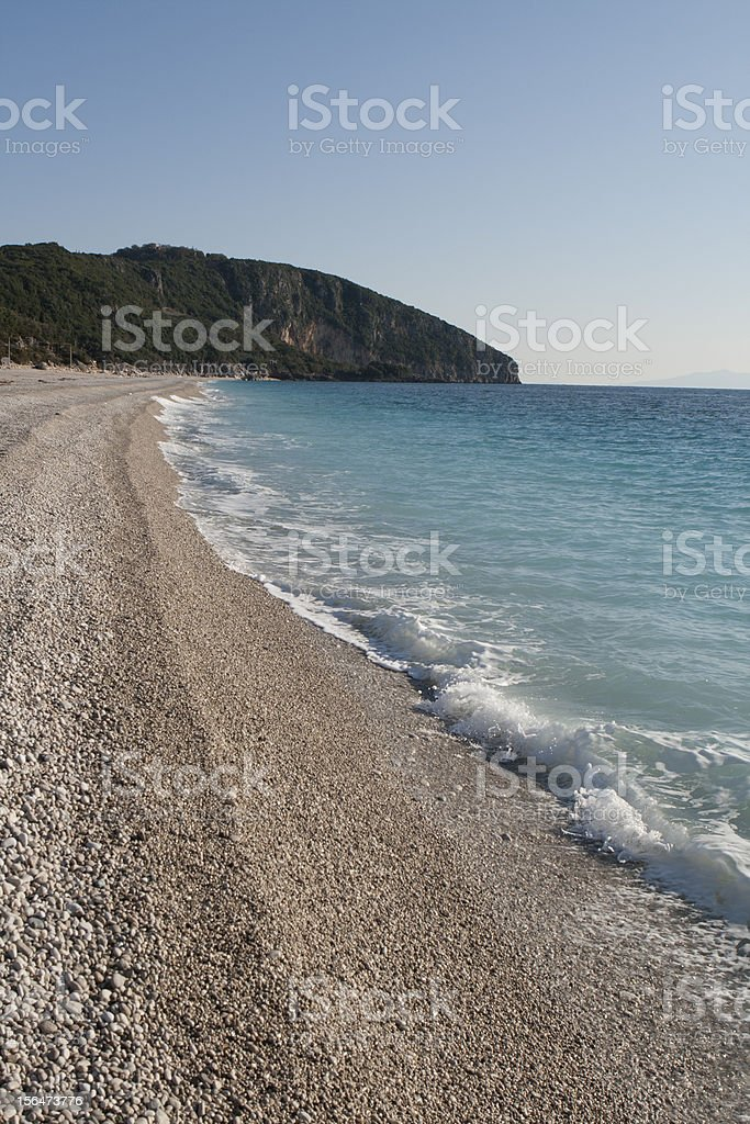 Dhermi beach in Albania. stock photo