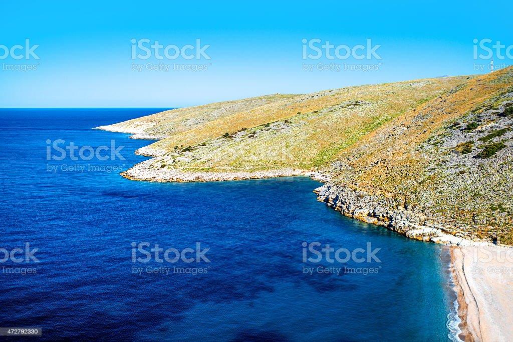 Dhermi beach in Albania stock photo
