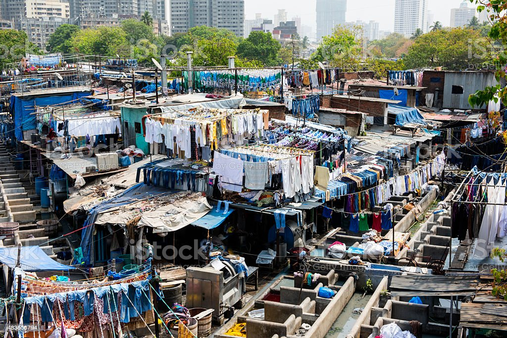 Dhobi Ghat open air laundromat in Mumbai stock photo