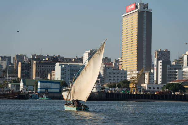 Dhow against backdrop of Maputo city, Mozambique stock photo