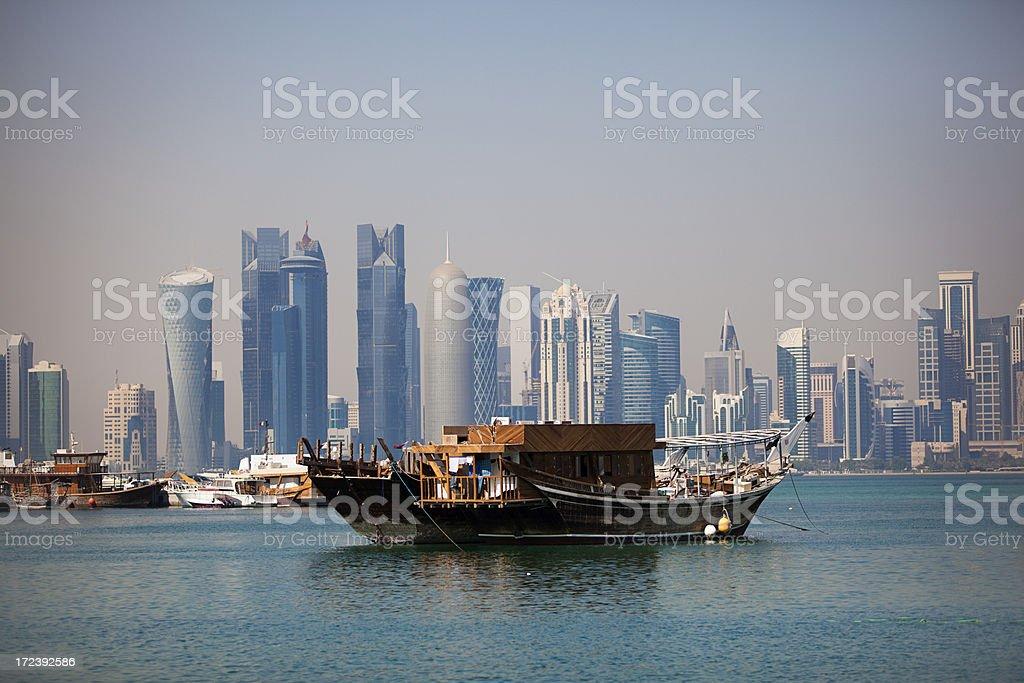 dhow and doha skyline stock photo
