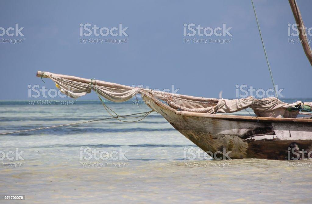 Dhow at the Beach of Kiwengwa, Zanzibar Island, Tanzania, Indian Ocean, Africa stock photo