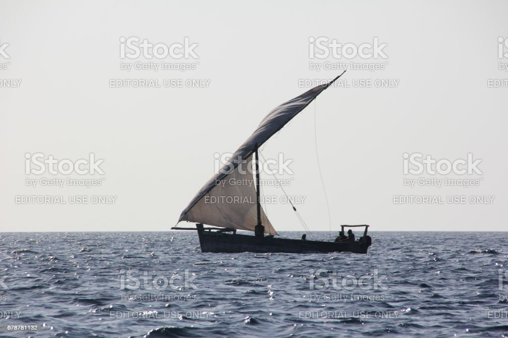 Dhow at the Coast of Kizimkazi, Zanzibar Island, Tanzania, Indian Ocean, Africa stock photo