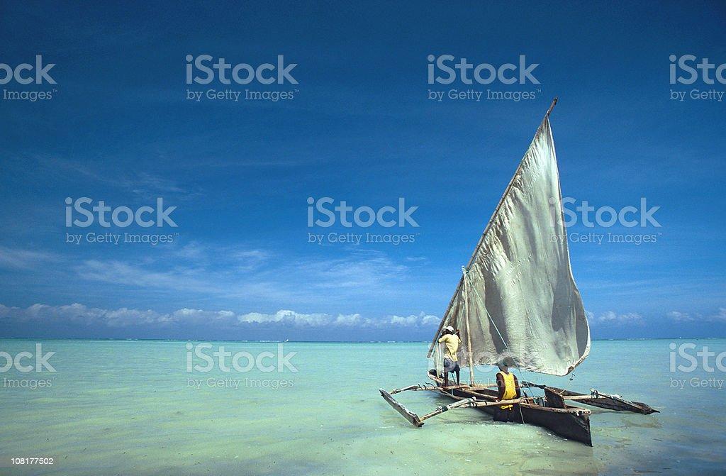 Dhow at the coast of Zanzibar stock photo